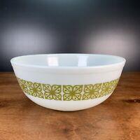 Vtg PYREX Verde Autumn Floral Green Square Flower 4 QT Round Mixing Bowl #404