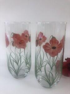 Individually Hand Painted Poppy Hi Ball Glasses