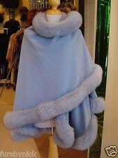 Powder Blue Cashmere Cape With Fox Fur Trim Beautifully Canadian Label