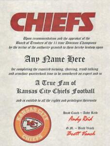 KANSAS CITY CHIEFS NFL TRUE FAN ~CERTIFICATE~DIPLOMA ~MAN CAVE ~  GIFT