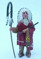 "PLASTOY INDIAN CHIEF WITH HEAD ORNAMENT PVC 3"" FIGURE"