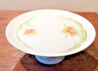 THE TOSCANY COLLECTION JAPAN WESTBURY PEDESTAL CAKE PLATE YELLOW ORANGE FLOWERS