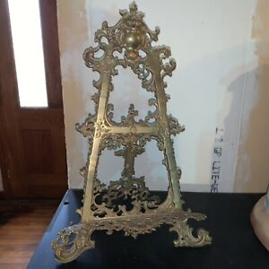 LARGE ANTIQUE BRASS ORNATE BOOK HOLDER/PHOTO STAND/EASEL