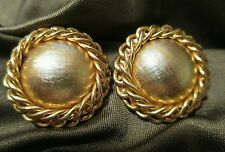 Vintage earrings button chain chunky openwork Goldtone clip on big jewelry matte