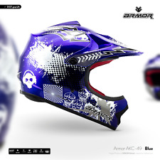 ARMOR  AKC-49 Blue KIDS Moto-Cross Helmet Off-Road ATV Enduro BMX XS S M L XL
