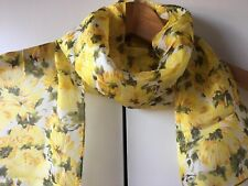LK Bennett London Silk Scarf With Yellow Flowers - Excellent Condition