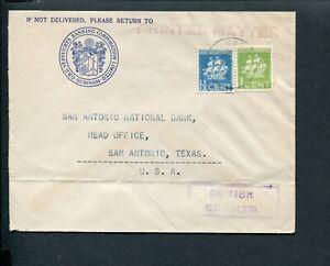 SURINAME, 1945 envelop Paramaribo - Texas; combfr nvph 158 + 159