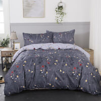Reversible Grey Floral Doona Duvet Quilt Cover Set All Size Soft Bed Pillowcase