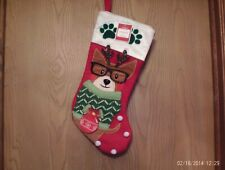 NEW WITH TAGS PEMBROKE WELSH CORGI CHRISTMAS STOCKING  17''