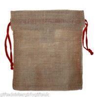 Jute Hessian Gift Xmas Storage Jewellery Pouch Sack Drawstring Bag - 22 x 18 cm