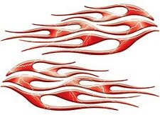 """Motorcycle  Car Truck Flame Decals Lightning Red 12"""" REFLECTIVE FL28"""