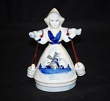 Vintage Delft Style Blue & White Porcelain Dutch Girl Figurine w Water Buckets
