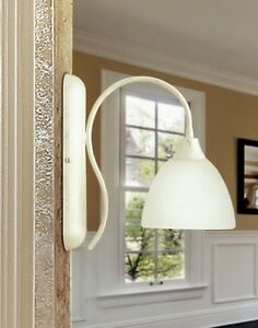 Wall Light Classic With Glass Ivory Silver White
