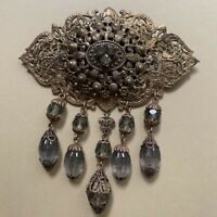 Vintage Brass Filigree Brooch Pin Smoky Rhinestone Beaded Dangle Ornate