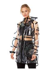 Calvin Klein Performance Transparent Raincoat Clear CK Logo Black Sz XL