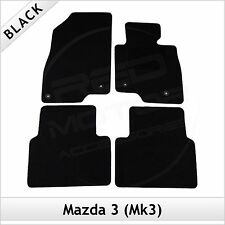 Mazda 3 Mk3 2013 onwards Fully Tailored Fitted Carpet Car Floor Mats BLACK
