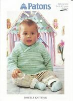 New double knitting pattern for baby/childs shawl collar sweater 16-26 in 0-7yr