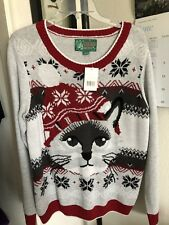NWT UGLY CHRISTMAS  CAT SWEATER with Lights WOMEN LARGE