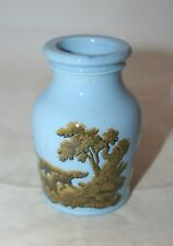 Small Antique Victorian 1856 Blue Vase/Pot With Hunting Scenes