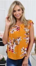 Womens Summer Beach Short Sleeve Chiffon Floral T Shirt Blouse Loose Casual Tops