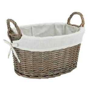W and S Wickers and Straw Fabric-Lined Storage Basket, Oval