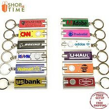 Promotional Led Slim Flashlight Key Chain Printed with your Logo / Name 100 Qty