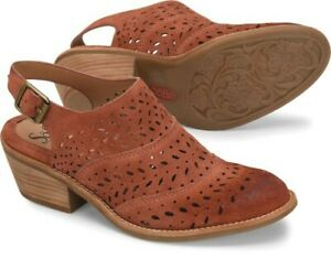 NIB $130 Sofft ALYCE Slingback Perforated Western Leather Suede Booties Rust 7.5