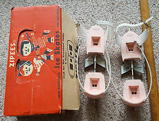 VINTAGE ZIPEES PINK ICE SKATES IN ORIGINAL BOX LATE 1950'S