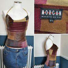 Morgan De Toi Top Y2k 90's Brown Gold Bronze Metallic Mesh Halter Neck
