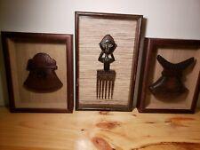 Vintage Ethnic African Art Carved Wood Framed 3 Different
