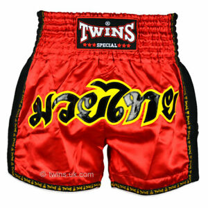 Twins Muay Thai Shorts TWS-911 Red Retro shorts Kickboxing Striking