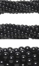 50 Genuine Round Black Obsidian Natural Gemstone Stone Beads Choose Small - Big