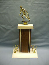 Baseball trophy cast metal topper heavy wood column wide base eagle trims