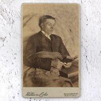 Victorian photo of a sick man reading in bed, CDV. Carte de Visite Sickbed