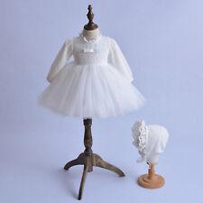 Cinda largo manga encaje Bautizo Vestido y gorro blanco marfil 0-3 to 18-24 M