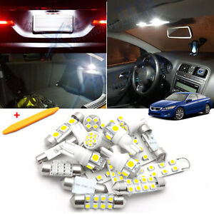 White LED Interior Dome Map Lights Package Kit for Honda Accord 2003-2012 + Tool