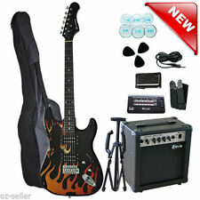Electric Guitar with Guitar AMP Stand Tuner Multiple Pickup Flame Design New