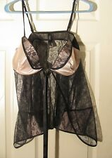 super sexy Victoria's Secret 36D babydoll camisole top, sheer/ pink cups