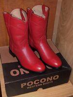 POCONO Red Leather Children's Youth Western Kids Roper Cowboy Boots 1566 NIB