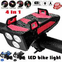 4in1 Waterproof Bicycle Light Bike Lamp with Bike Horn/Phone Holder/Power Bank