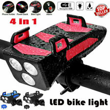 4in1 Waterproof Bicycle Light Bike Lamp with Bike Horn/Phone Holder/Power Bank