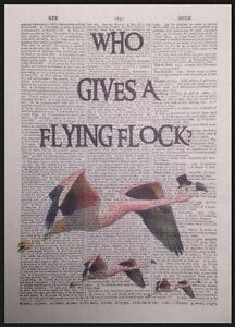 Flamingo Quote Funny Vintage Dictionary Page Wall Art Print Picture Bird Pink