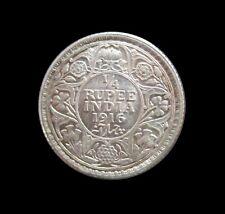 BRITISH INDIA CALCUTTA 1/4 RUPEE GEORGE V 1918 UNC SILVER KM 518 #3753#