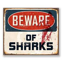 2 x 10cm Beware of Sharks Sticker Car Laptop Decal Sign Surf Camper Van #6526