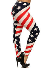 d0bcbbcdfc7f9 BRUSHED Star Striped USA AMERICAN flag leggings One size S M L PLUS 1X 2X 3X