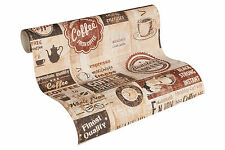 "33480-2) Papier Tapete Cafe American Diner ""Simply Decor"" beige creme terra"