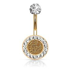 14G Jeweled Round Sparkling Belly Button Ring Rose Goldtone Navel Piercing