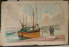"""Tableau Peinture Aquarelle PIERRE ABADIE LANDEL """" Port Douarnenez""""  PAL23"""