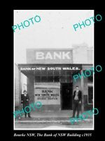 OLD LARGE HISTORIC PHOTO OF BOURKE NSW, THE BANK OF NSW BUILDING c1935
