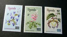 Uganda Stamp Scott# 130-132 Flowers Surcharged 1975 MH C523